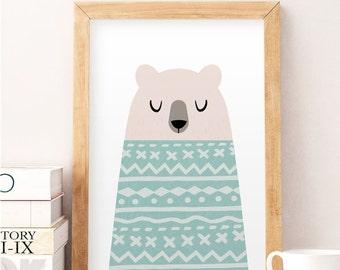 Bär, Weiße Bär, Kinderzimmer Plakat, Kinder Wand Kunst, Süße Kunst,