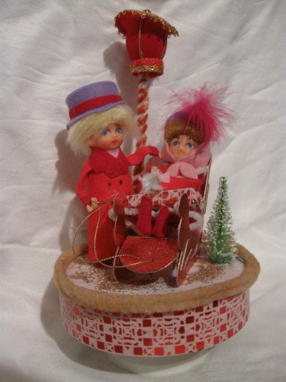 Napco 1960s Christmas Rotating Music Box Like New Original