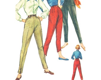Vintage Sewing Pattern 1950s 1956 Women's Pants Simplicity 1818 Size 26 Waist