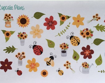 Beautiful Sunflower and Fall Flowers Planner Stickers Planner Stickers