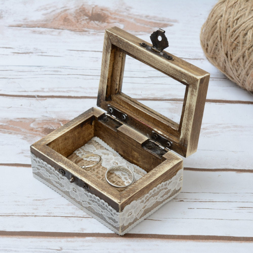 Wedding Ring Glass Box Rustic Ring Bearer With By