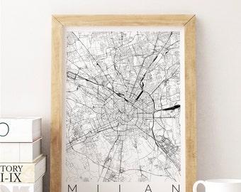Map of Milan - Map ART - Milan Poster  - Office Decor - Milan Travel Poster - City of Milan - Travel Home Decor - Gift for Traveller