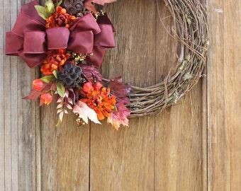 Fall Wreath, Fall Flower Wreath, Fall Leaf Wreath, Autumn Wreath, Burgundy Wreath, Thanksgiving wreath, Natural Wreath, Front Door Wreath