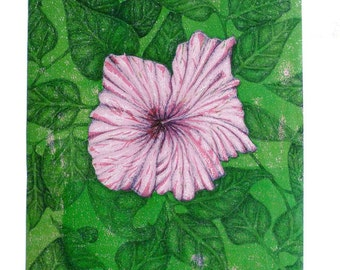 Hibiscus Flower and Leaves Fine Art Print. Wall Art