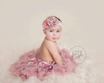 baby tutu, baby pettiskirt, dusty rose pettiskirt, rose tutu, newborn outfit, infant tutu girl, baby set, girl outfit, shabby chic birthday