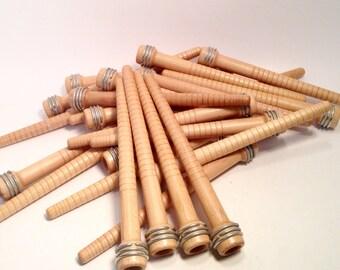 Industrial Wooden Spools, Primitive Nostepinne, NOS Textile Spinning Bobbins, Quills, Spindles, Vintage Light Wood Lot of 24