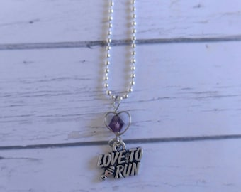 Track Necklace// Custom Sports Necklace// Track Gift// Girls Sports Necklace// Choose Sports Charm, Chain Color & Crystal