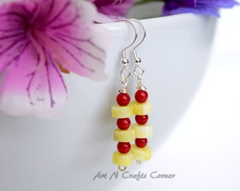 Lime Green and Red Earrings, Coral Red Earrings, Lime Green Earrings, Silver Plated Earrings, Bead Earrings, Dangle Earrings, Drop earrings