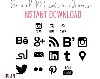 Social Media Icons Shape INSTANT DOWNLOAD Black