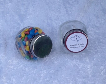 30 X Mini Candy jars with Personalised Labels