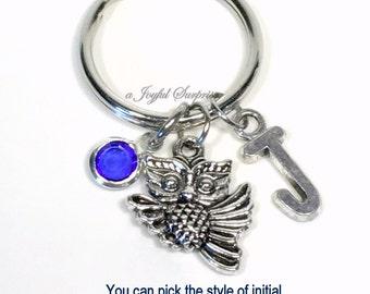 SALE - Owl Key Chain, Owl Gift Bird Keychain Custom Jewelry Keyring Birthday Present Christmas Gift Purse Charm Planner Initial Birthstone 6