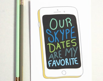 Skype Date Greeting Card, long distance boyfriend gift, boyfriend gift, long distance card, long distance relationship card