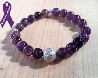 Alzheimer's Awareness | Genuine Amethyst Stretch Bracelet