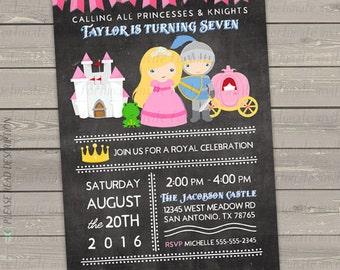 princess birthday invitation printable, princess invitation, princess and knight party invites digital or printed