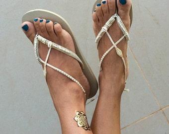 Bridal Flip Flops, Wedding Flip Flops, Bridesmaid Flip Flops, Silver & Gold Flip Flop, Wedding Sandals, Comfortable Wedding Shoe, Boho Shoe