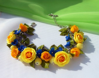 Free shipping Floral Charm Bracelet handmade of polymer clay / Bracelet with yellow roses and blue little flowers Gift for her