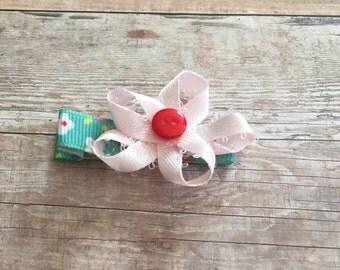 girls bow barrette -pink flower non-slip hair clip- alligator clip