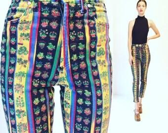 Vtg Gianni Versace Jeans Couture Print Pants