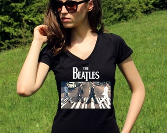 Beatles Shirt The Beatles Shirts Abbey Road The Beatles TShirt John Lennon The Beatles T shirt Rock Women V Neck Tees Rock Shirt