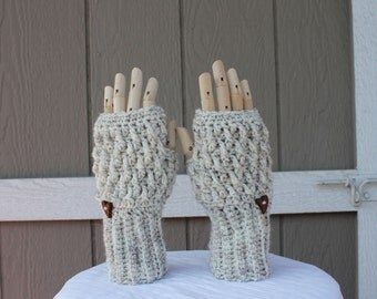 "Neutral-colored wool blend fingerless handmade crochet gloves / mittens. Ready to ship now, just over 8"" in length & around top edge."