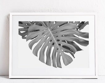 Tropical Print, Tropical Leaf Print, Plant Print, Black and White Print, Botanical Print Monstera Photography INSTANT DOWNLOAD PRINTABLE Art
