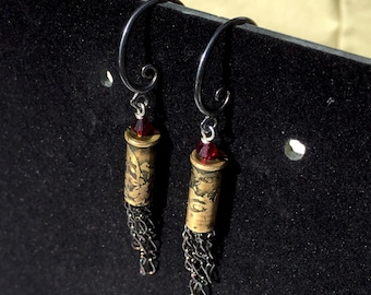 Etched .22 Chain Tassel Earrings- Red Swarovski Crystal