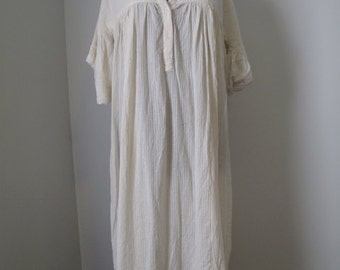 vintage indian cotton gauze cream dress by zodiac deadstock with pockets!