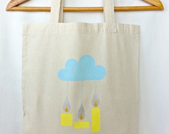 Baby shower hostess gift. Baby shower thank you gift. Tote bag: a birthday gift or a baby shower gift. Hand painted natural canvas tote bag.