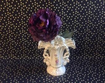 Pastel Proposal~Vintage Wedding Vase~Gilded Porcelain~Art Deco~Gold~White~Pink~Purple