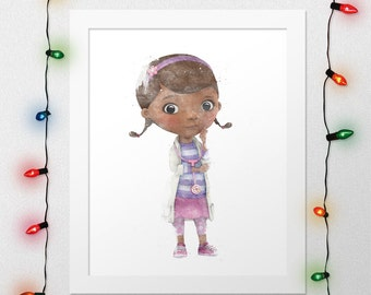 DOC MCSTUFFINS, Doc McStuffins Print, Doc Print, McStuffins, Disney Watercolor, Disney Nursery, Doc McStuffins Watercolor, Digital Print