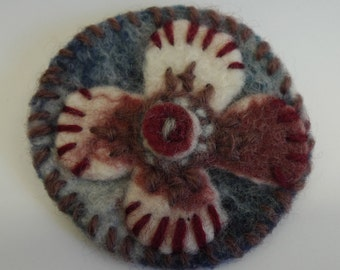 felted, hand dyed wool, hand stitched brooch