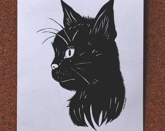 Original Inktober Drawing - 'Black Cat'