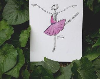 Original Inktober Drawing - 'Ballerina Skeleton'