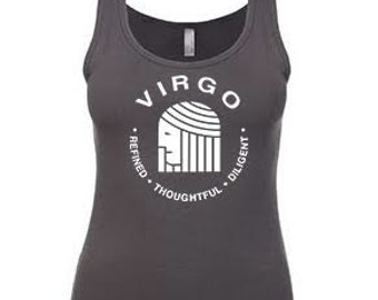 VIRGO, What's Your Sign? Tank in blue or gray,  virgo tank, virgo tank, virgo tank, virgo, zodiac sign tank, blue,  gray, zodiac tee