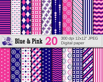 Blue and Pink Digital Paper Set, Geometric Digital Printable Scrapbook Papers, Stripe Chevron Argyle Papers, Digital Download