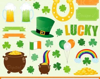 St Patricks Day Digital Download Vector Clip Art, Shamrock Clover Clipart, Irish Clipart, Pot of Gold, Horseshoe Clipart