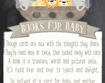 Noah's Ark Baby Shower, Chalkboard Baby Shower book card