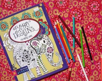 Adult Coloring Book / BOHO DESIGNS / by Valori Wells / Fun Stitch Studio / 18 designs