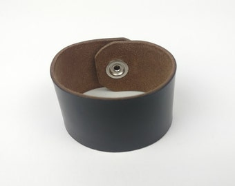 Leather Cuff Bracelet with black snap closure