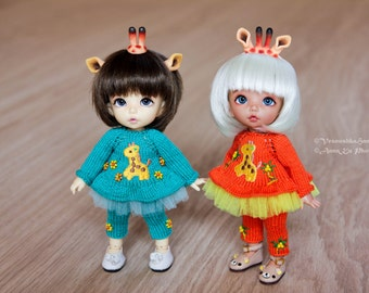 Giraffe Outfit and horns commission for tiny, pukifee, lati yellow 1/8 BJD dolls