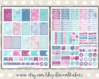MAMBI Happy Planner Printable Stickers, Glitter printable planner stickers, Sparkiling Winter Weekly set, Glam, PDF - Instant Download