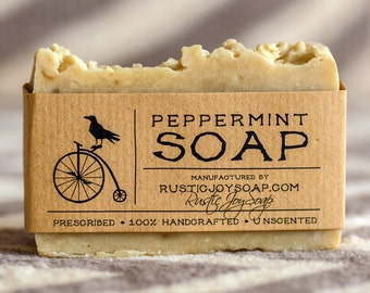 Peppermint Soap, Rustic Soap, Natural Soap, gift for him, gift for her, homemade soap, mint scent soap, vegan soap, artisan soap, acne soap