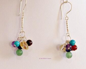 Cluster Earrings   Chakra Earrings   Boho Earrings   Chakra Colours   Chakra Jewellery   Colourful Earrings   Sterling Silver   A0425