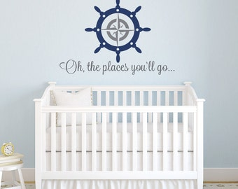 Captain's Wheel Name Wall Decal-Boys Nautical Decals-Baby Sailor Vinyl Wall Decals-Nautical Nursery-Compass Wall Decal,Nursery Wall Decals,