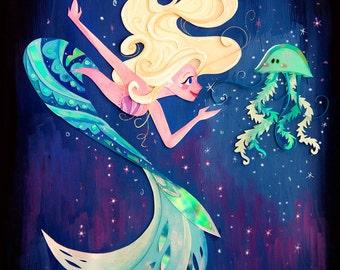 Mermaid Meets Jellyfish Print
