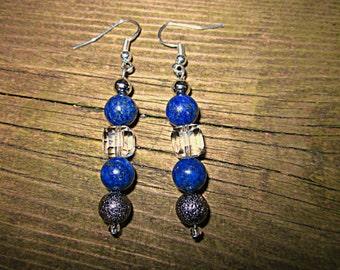 earrings lapis lazuli crystal