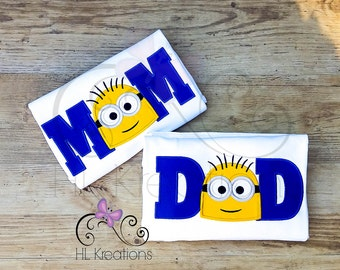 Minion Mom and Dad TShirts, Minion Birthday Shirt, Minion Appliqué Design