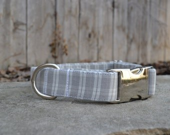 Plaid Dog Collar, Grey Dog Collar, White Dog Collar, Male Dog Collar, Boy Dog Collar, Preppy Dog Collar