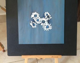 White daisies on wood