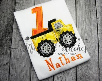 Boy's 1st Birthday Dump Truck Shirt/ Dump Truck one Shirt/ Boy's 1st Birthday Truck Shirt/ 1st Birthday Truck Applique Shirt
